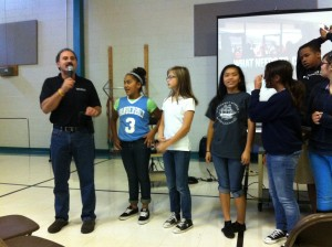 Rachel's Challege representative Peter DeAnello works with students during a demonstration of positive behavior.
