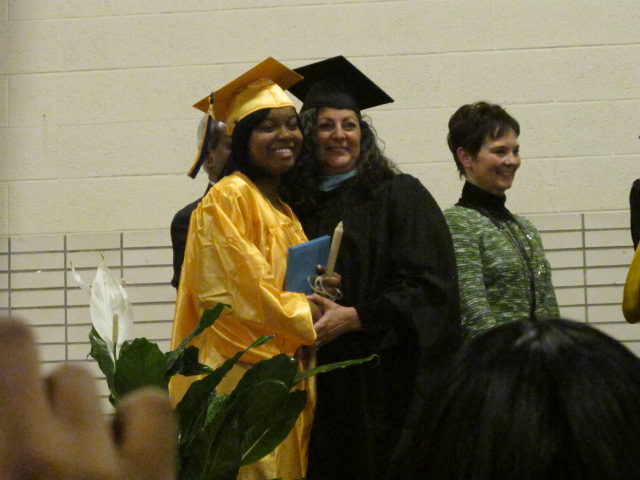 Principal Doreen Mangrum poses for a picture with new graduate Brianna Wedgeworth