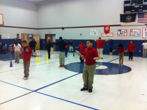 Fifth-grade students at William C. Abney Academy Elementary prepare to start their Jump Rope for Heart event.
